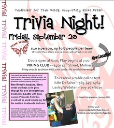 Trivia Night Fundraiser, Friday Sept 20th