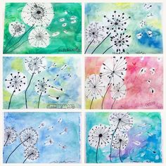 What a suitable theme for the first windy day of summer, and the last art class this school year! The lovely and dainty dandelion! We… rubbercement Summer Art Projects, Easy Art Projects, School Art Projects, Collaborative Art Projects For Kids, Group Art Projects, Art Education Projects, Kids Art Class, Art 2nd Grade, 2nd Grade Crafts