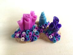 Coral Reef Miniature Polymer Clay Sculpture by RockNova on Etsy