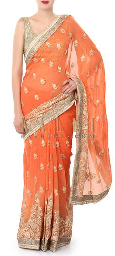 Buy Online from the link below. We ship worldwide (Free Shipping over US$100). Product SKU - 320074. Product Price - $189.00. Product Link - http://www.kalkifashion.com/peach-saree-enhanced-in-resham-embroidery-only-on-kalki.html
