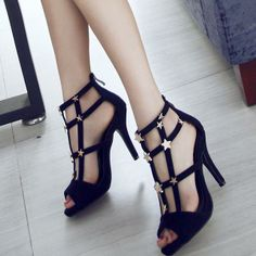 Woman Sandals Summer Fashion Sexy Fish Mouth Leather High-Heeled Shoes