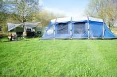 Outwell Hornet XL tent setup, ready for camping at Fforest Fields