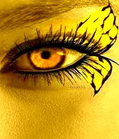 Yellow Eye & Butterfly Make-up Mellow Yellow, Black N Yellow, Color Yellow, Pretty Eyes, Beautiful Eyes, Yellow Fever, Yellow Brick Road, Eye Art, Shades Of Yellow
