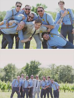 looks for the groom and his men You could go casual for the groomsmen like this and then you could have those lovely shirts.  But you Dad is very formal with his teddy suit.