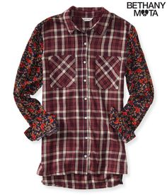 Long Sleeve Mixed Print Woven Shirt - Aeropostale
