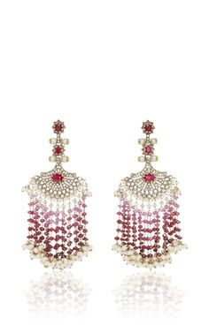 Ruby and Diamond Fan Earrings by Sanjay Kasliwal (=)