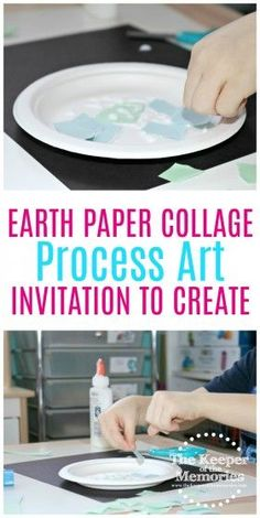 Here's a fun Earth Collage art project for little kids. Preschoolers will love cutting or tearing paper to make continents and oceans. This would be awesome for an Earth Day, Geography, or Space unit. Check it out! #art #preschool #craft
