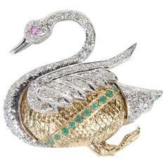 Diamond Ruby and Emerald Swan Brooch | From a unique collection of vintage brooches at http://www.1stdibs.com/jewelry/brooches/brooches/