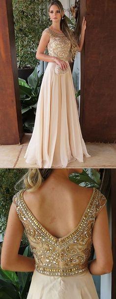 elegant light champagne long prom dresses, unique beading bodice long evening gowns, modest v back chiffon party dresses #dressesprom