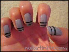 DIY Nail Striping Tape <-- the stripes are made out of painted tape! Striped Nail Designs, Hot Nail Designs, Nail Art Stripes, Striped Nails, Nail Striping Tape, Hot Nails, Nail Tutorials, Beauty Nails, How To Do Nails