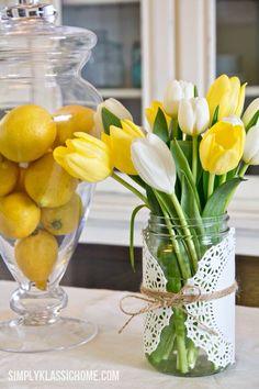 Yellow Lemons and Tulips
