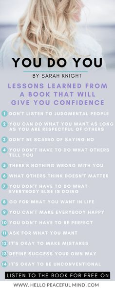 This is what I've learned from the book You Do You by Sarah Knight. to listen to the book for FREE! Self Confidence Tips, Confidence Boost, Confidence Building, Self Development, Personal Development, Loose Weight In A Week, Judgmental People, Sarah Knight, Health And Wellness