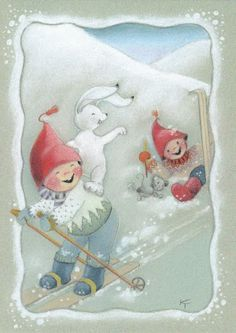 Kaarina Toivanen Christmas Pictures, Christmas Art, Vintage Christmas, Xmas, Winter Illustration, Christmas Illustration, Vintage Pictures, Cute Pictures, Elves And Fairies