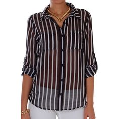 Humble Chic NY Vertical Stripe Chiffon Blouse ($48) ❤ liked on Polyvore featuring tops, blouses, long sleeve button down shirts, long sleeve shirts, black and white striped blouse, sheer button up blouse e white and black striped shirt