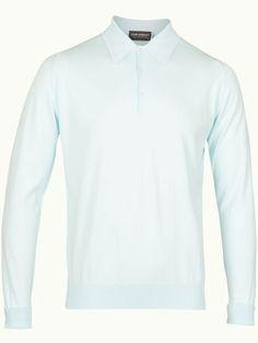 John Smedley Finchley Long Sleeve Polo Shirt - Eggshell Blue - Available to buy at http://www.afarleycountryattire.co.uk/product-tag/john-smedley-finchley-long-sleeve-polo-shirt/ #johnsmedley #mensfashion #poloshirt #afarleycountryattire