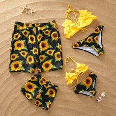 Yaffi Family Matching Two Pieces Bathing Suit Mommy and Me Sunflower Printed Swimwear Bikini Set Beach Wear, Twin Girls Outfits, Baby Outfits Newborn, Kids Outfits, Cute Outfits, Twin Baby Clothes, Unique Baby Clothes, Family Clothes, Swimsuits For Teens, Cute Swimsuits