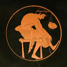 Attic kylix BC) young man tying his sandal recovered from the Getty Museum Ancient Greek Art, Ancient Greece, Los Angeles Museum, Leaf Crown, Greek Pottery, Getty Museum, Athlete, Young Man, Civilization