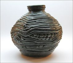 Giant COILED POTTERY Vessel in Deep Mottled Greens by debwarr, $185.00