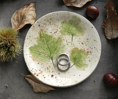 Fall Leaves Ceramic Ring Dish Rustic Small Pottery by Ceraminic