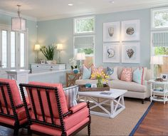 Coastal Living Room. Colorful Coastal Living Room. Turquoise coastal living room with colorful decor. #Coastal #LivingRoom #ColorfulDecor AGK Design Studio.