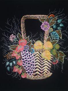 canasta de flores pana y pirograbado