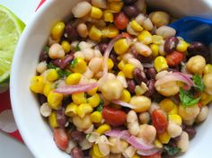 Bean salad..vinaigrette: olive oil, lime juice, vinegar, cumin, chili powder, ..open cans of black beans, redbeans, garbonzo beans, white beans and cooked corn. fresh cilantro and red onion.  Oh so easy!