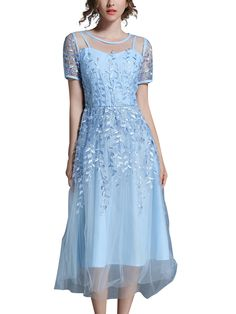 Sky Blue Hollow Out Embroidered Floral Maxi Dress