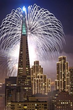"""""""Fireworks over San Francisco"""" by Can Balcioglu: Fireworks over the Transamerica Building in San Francisco for New Years 2007."""