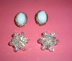 Vintage Clip On Earrings Lot Shrager Jonne Glass PEARLCRAFT Aurora Borealis Crys…