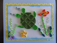 Quilled Tropical Turtle Birthday Card by Karen Miniaci.  Quilling Supplies from 'Quilled Creations'