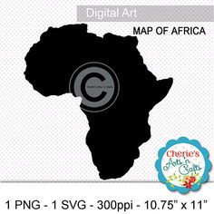 Map of Africa Clip Art  Silhouette Style Maps  Map