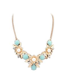 Blue Gemstone And Petal Bohemia Chain Necklace AC0020006-1