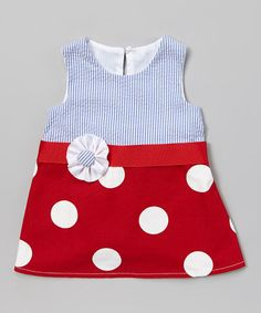 Loving this Blue & Red Polka Dot Janie Mae Dress - Infant & Toddler on #zulily! #zulilyfinds