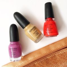 Bright & Beige | Nail Polish Trio Set of three nail polishes. Includes: * OPI x Sephora: Don't Go There - Purple Creme * OPI x Sephora: Neutral Beauty - Camel Creme * Icing: Heavenly Hottie - Bright Rusty Orange All shades worn fewer than three times. Opi Makeup