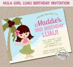 Hula Girl Luau Birthday Party Invitations - DIGITAL or PRINTED Customized For You Invite printable 5x7 or 4x6 by SmartyPartyDesigns on Etsy