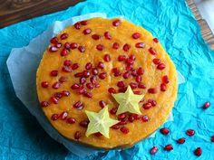 A fresh and fruity no-bake mango cake with papaya, pomegranate & Chia seeds, glutenfree, vegan & refined sugar free