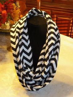 Black and White Chevron Infinity Scarf by SittisHands on Etsy