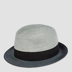 Paul Smith Men's Hats | Grey Dip-Dye Braided Paper Trilby Hat
