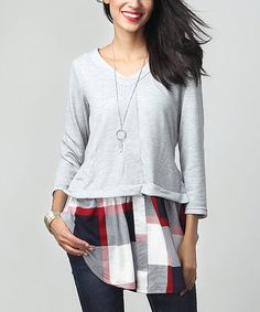 Gray V-Neck French Terry & White Plaid Hem Sweatshirt #zulily #zulilyfinds