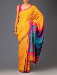 Yellow-Turquoise Pashmina Handwoven Cotton-Silk Saree