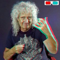 Brian May, An Air Guitar In 3D - 3D Anaglyph Photography.