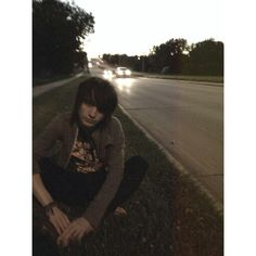 Just casually sitting on the side of the road with no shoes on taking picture! Selfie game strong