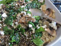 Mushroom, Spinach, Lentil, Feta, Quinoa Salad
