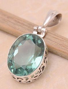 "Green Quartz .925 Sterling Silver Jewelry Pendant 1.4"""