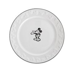 Gourmet Mickey Mouse Dessert Plate - White/Black