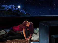 So I finished my digitaldrawing of Carmilla and Laura stargazing on the roof top. It's in wallpaper size, just click it for better quality. [wacom tablet, ps cs5]