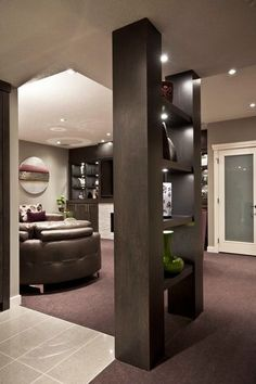 Masculine interior design contemporary basement by Urban Abode