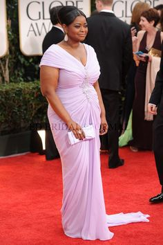Octavia Spencer Lavender Cap Sleeve 2012 Golden Globe Awards Red Carpet Plus Size Homecoming Prom Dress