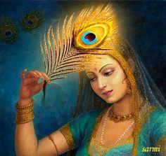 Remembering Krishna always. Memory invoked by the peacock feather. Krishna wears them in his hair or turban. Hare Krishna, Radha Krishna Love, Radha Rani, Krishna Flute, Krishna Pictures, Krishna Images, Krishna Painting, Indian Art Paintings, India Art