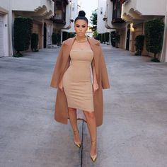 """Clearly I've been on a nude kick   Yesterday's #OOTD Dress @zacharythelabel Coat @houseofcb Shoes @balmainparis #glamrezy #amrezy"""